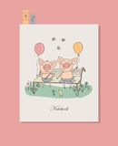 Two cute little pigs sitting on a bench with balloons. Funny vector illustration in cartoon style. Can be used for notebook cover, baby announcement, scrapbook Royalty Free Stock Photos