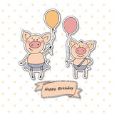 Two cute little pigs standing with balloons. Funny vector illustration on white background with peas. Lovely crafted design for postcards and prints. Ribbon Royalty Free Stock Photos