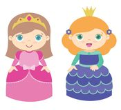 Two Cute Little Princesses Standing Flat Vector Illustration Isolated on White stock photos