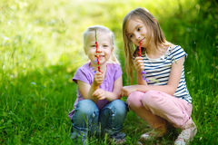 Two cute little sisters gathering wild strawberries Stock Photo