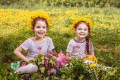 Two cute little sisters having fun while sitting on the grass Royalty Free Stock Photo