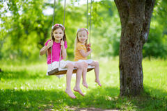 Two cute little sisters having fun on a swing together in beautiful summer garden Stock Photo