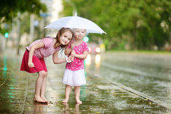 Two cute little sisters having fun under a rain Royalty Free Stock Image