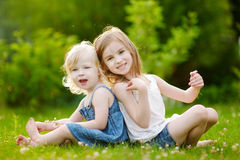 Two cute little sisters sitting on the grass Royalty Free Stock Photo
