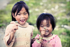 Two cute little Vietnamese girl Stock Photos