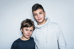 Two Cute Looking Kid  Brothers Stock Photos
