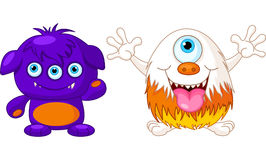 Two cute monsters Royalty Free Stock Image
