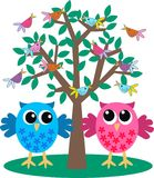 Two cute owls. Illustration of two cute flirty owls Royalty Free Stock Images