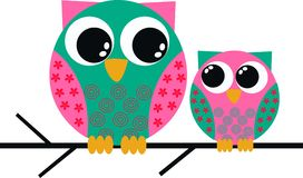 Two cute owls royalty free illustration
