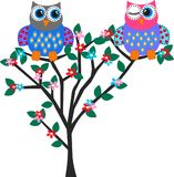 Two cute owls. Illustration ot two cute owls in love Royalty Free Stock Image