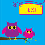 Two cute owls. Card. Stock Photo