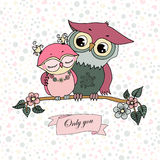 Two cute owls fallen in love Royalty Free Stock Photo