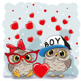 Two Cute Owls. With heart on a hearts background stock illustration