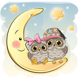 Two Cute Owls on the moon Royalty Free Stock Photo