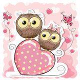Two Cute Cartoon Owls and heart Stock Images
