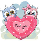 Two Cute Owls Stock Images