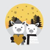 Two cute pigs in love. Pig boy and pig girl standing in a winter forest. Pig boy holding big gold heart. Two cute pigs in love. Pig boy and pig girl. Pig boy royalty free illustration