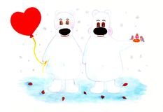 Two polar bears and balloon heart. Valentine Day. Two cute polar bears and a balloon in the shape of a red heart. Watercolor illustration Royalty Free Stock Image