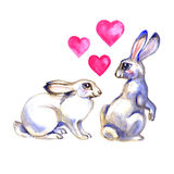 Two cute Rabbits in artistic style. Watercolor Easter art print. Hand drawn illustration. Royalty Free Stock Photos