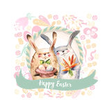 Two Cute Rabbits Hold Gifts- Eggs And Bouquet of Carrot. Watercolor collage. Happy Easter Card Royalty Free Stock Photo