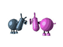 Two cute robots - donkeys Royalty Free Stock Image
