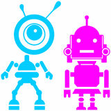 Two cute robots, girl and guy. Abstract image of a fictional. Isolated on blue background. Vector silhouettes Royalty Free Stock Photography