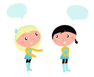 Two cute school girls talking about something. Little girls isolated on white background Royalty Free Stock Photo
