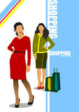 Two cute shopping ladys with bags Royalty Free Stock Photo