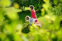 Two cute sisters fooling around together on the grass on a sunny summer day. Children being silly and having fun royalty free stock photography