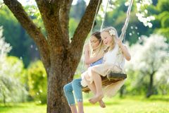 Two cute sisters having fun on a swing in blossoming old apple tree garden outdoors on sunny spring day. stock photography