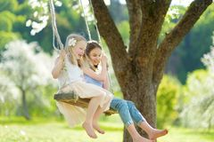 Two cute sisters having fun on a swing in blossoming old apple tree garden outdoors on sunny spring day royalty free stock photography