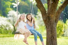 Two cute sisters having fun on a swing in blossoming old apple tree garden outdoors on sunny spring day stock photos