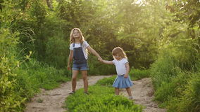Two cute sisters walk in park. Two happy sisters. Cute girls walking in the park hand in hand. Family values stock video footage