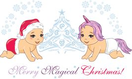 Two cute smiling babies in Christmas props. Greeting postcard stock illustration