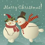 Two cute snowman in love. Celebrating Christmas.Vector greeting card Stock Photography
