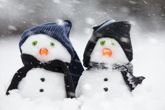 Two cute snowmen dressed for winter Stock Image