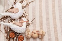 Two cute spring birds,handmade decorative toys. Easterdecoration, symbol of spring