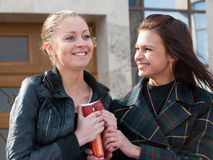 Two cute students portrait outdoors Royalty Free Stock Photo