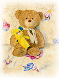 Two cute teddy bear. Watercolor still life. Teddy Bears in the chair Stock Image