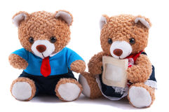 Two cute teddy bears. Two cute dressed teddy bears sitting side by side on a white background with one bear holding a blank message card Stock Images