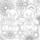 Two cute teddy bears. linear black and white art with floral pattern. Stock Photography
