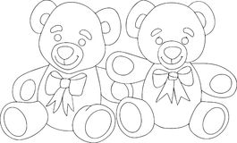 Two cute teddy bears. linear black and white art. Royalty Free Stock Images