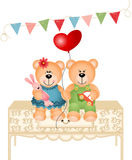 Two cute Teddy bears in love Stock Photography