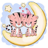 Two Cute Tigers on the moon. Two Cute Tigers is sitting on the moon Stock Photo