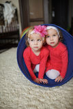 Two cute twin girls Stock Photo