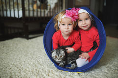Two cute twin girls Stock Image