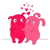Two Cute UFO characters with Love Royalty Free Stock Image