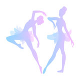 Two cute vector ballerinas. In pink and blue tones Royalty Free Stock Photos