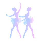 Two cute vector ballerinas. In pink and blue tones Stock Photos