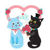Two Cute Vector Cats. Card Design Elements With Cute Cats. Stock Photos